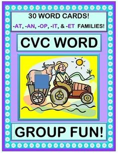 Play a GROUP WORD GAME with FIVE CVC WORD FAMILIES!  Bring along Old MacDonald as the host!  Encourage phonemic and sight awareness of the -AT, -AN, -OP, -IT, and -ET CVC WORD FAMILIES.  Sing a funny SONG, and use the 30 CVC WORD CARDS for this active Word Work game!  (11 pages)  From Joyful Noises Express TpT!  $