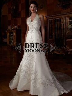 Gorgeous A line V Neck Chapel Train Satin and Embroidery Wedding Dress - A-Line Dresses - Wedding Dresses - Weddings
