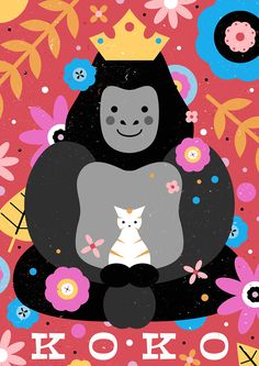 Carly watts art & illustration: koko the gorilla animals апликации. Cute Animal Illustration, Character Illustration, Illustration Art, Animal Illustrations, Gorillaz, Koko Gorilla, Silverback Gorilla, Animal Doodles, Animal Drawings