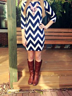 navy chevron dress, pink bubble necklace and cognac riding boots!