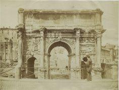 Arco di Settimio Severo vintage albumen print, Italy Tirage albuminé 17x22 Circa 1880