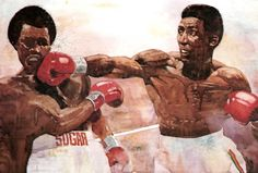 Bart Forbes painting Leonard vs. Hearns, Sept. 1981.