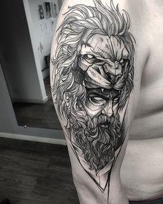 Daddy Tattoos, Lion Head Tattoos, Bear Tattoos, Animal Tattoos, Body Art Tattoos, Tattoo Drawings, Tattoos For Guys, Sleeve Tattoos, Sick Tattoo