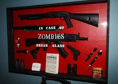 Ha ha new home decor! Zombie Survival Tips for the Upcoming Apocalypse. Son would love this Apocalypse Survival Kit, Zombie Survival Guide, Survival Knife, Survival Tips, Zombies Survival, Survival Mode, Survival Stuff, Survival Skills, Apocalypse House