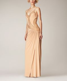 Mignon Nude Embellished Sleeveless Gown