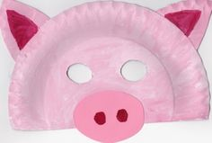 Paper Plate Pig Mask                                                                                                                                                                                 More Paper Plate Animal Masks, Animal Masks For Kids, Paper Plate Art, Paper Plate Crafts, Mask For Kids, Pig Crafts, Farm Crafts, New Year's Crafts, Daycare Crafts