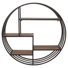 Showcasing a round silhouette and 4 shelves, this artful metal wall decor is a handsome addition to your entryway or living room.  P...