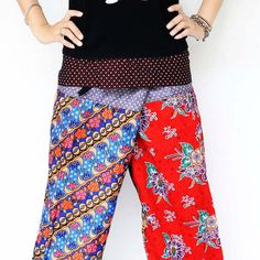 Unique design patchwork red and blue tone Thai by meatballtheory, $20.00