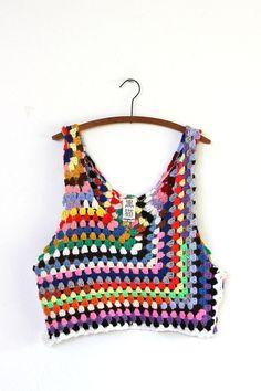 grungy knit crochet tank por napkinitems en Etsy