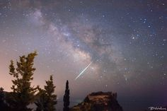 Fireball above Angels Castel, Aggelokastro Night landscape with Milkyway Galaxy above the old Byzantine Castel of Michael Angelos Komninos, and a big Shooting star just above it! Corfu, Milky Way, Byzantine, Night Skies, Northern Lights, Angels, Old Things, Sky, Landscape