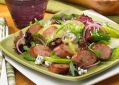 Crisp Apple and Sausage Salad can't be beat! Toss browned apple chicken sausage coins with fresh greens, apples, red onion slices and crumbled blue cheese. Honey mustard salad dressing brings the whole thing together. Honey Mustard Salad Dressing, Gluten Free Recipes, Healthy Recipes, Grilled Recipes, Keto Recipes, Chicken Apple Sausage, How To Cook Sausage, How To Make Salad, Apple Crisp