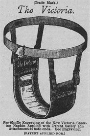 """This is a depiction of one of the first sanitary products. As Brumberg reported, """"...feminine napkins were once much bulkier and that before the invention of panty hose and press-on paper tape, they were usually pinned to either suspension belts..."""""""