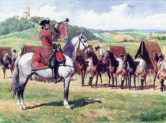 Trompette du Regiment Chabrillant Cavalerie, 1745. Art by: Lucien Rousselot