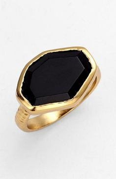 'Slice' Stone Ring Gold/ Black Onyx 7 / Melinda Maria