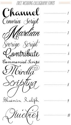 Good font ideas for invitations, table seating and thank you cards