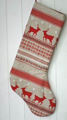 Gorgeous Scandi Style Reindeer Fabric Christmas Stocking - love them!
