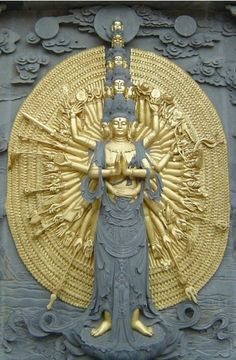 The 1000-armed representation of Kwan Yin comes from a Buddhist legend about her aiding so many people facing struggle that her head split into 11 pieces. Amitabha Buddha, seeing her plight, gave her 11 heads in order to hear the cries of the suffering and a thousand arms with which to aid them.