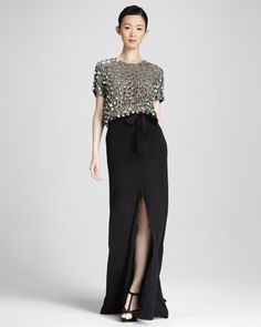 Sequined Combo Gown by Naeem Khan