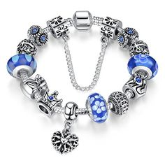 Bamoer Queen European Style Blue Snowflake Murano Glass Bead Heart Dangle Charm Bracelet Jewelry Gift 18cm/20cm