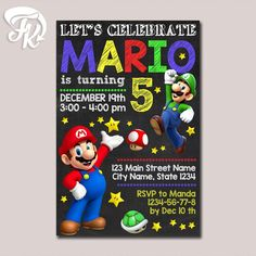 Super Mario Invitation Printable Chalkboard Birthday Party Card Digital Invitation $9.19 USD