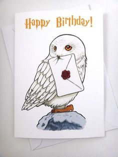 Harry Potter Card Hedwig Card Birthday Card Funny Card Greeting Card Harry Po Best Picture For DIY Birthday Cards with photos For Your Taste You are looking for something, and it is going to tell you Hedwig Harry Potter, Harry Potter Kunst, Harry Potter Sketch, Harry Potter Bricolage, Harry Potter Cards, Cumpleaños Harry Potter, Harry Potter Drawings, Harry Potter Tumblr, Harry Potter Characters
