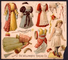 UNCUT Willimantic Thread Co. Paper Doll 1893