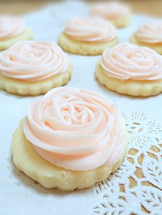Rose Flower Shortbread Cookies. A perfect pretty little sweet to celebrate my new prefect little niece. A different spin on the traditional baby shower; a 'Baby Meet & Greet'