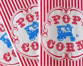 25 Retro Paper Popcorn Bags - Circus Carnival Birthday Party Blue Wagon and Red Stripe. $3.25, via Etsy.