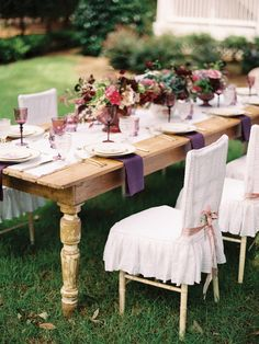 farm table and purple and pink details