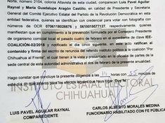 Ratifica el PRD ante el IEE renuncia en la coalición Por Chihuahua al Frente | El Puntero