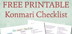 FREE printable Konmari Checklist! Colorful and joy-sparking, hopefully this will help you on your konmari journey!