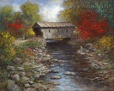 Old Landscape painting - Old Covered Bridge LE Signed & Numbered Giclee Canvas Country Barns, Old Barns, Landscape Pictures, Landscape Paintings, Oil Paintings, Landscape Drawings, Watercolor Landscape, Abstract Landscape, Landscape Arquitecture