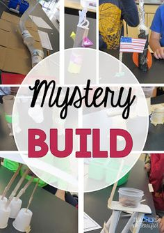 STEM Challenge: It's a mystery build! Every group gets a task card describing what they must build and then the groups must choose the materials they think will work best! Here's the trick: the materials have a cost and the kids must stay under budget!
