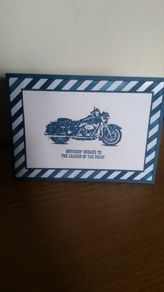 Love this masculine card using the One Wild Ride stamp set from Stampin Up in Daper Denim