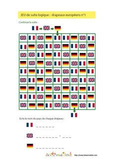 Jeu de suite logique : drapeaux européens n°1