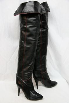 Vintage Mary Popps boots Thigh High Boots, High Heel Boots, Over The Knee Boots, Heeled Boots, Sexy Boots, Cool Boots, Leather Boots, Black Leather, Sexy Stiefel