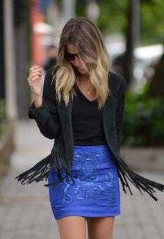 glam4you - nati vozza - look - blog - saia - azul - klein - preto - casaco - franjas - valentino shoes
