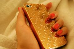 Marc by Marc Jacobs Stardust Logo Embossed Metallic iPhone Case in gold