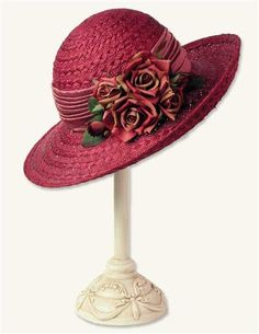 HEIRLOOM ROSES STRAW WIDEBRIM HAT @ Victorian Trading