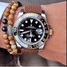 Two tone Rolex GMT - Master II with perlon strap