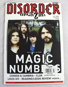 Disorder Magazine October 2005 Magic Numbers Clor Louis XIV England Rare NEW OOP Coheed And Cambria, Model Magic, 45 Records, Music Magazines, Louis Xiv, Cover Model, Print Magazine, Disorders, Numbers