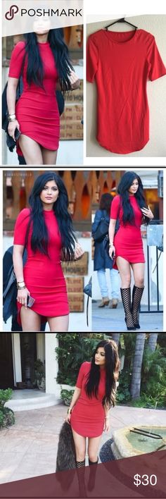 Red dress 🌹 identical to Kylie Jenner's ! Stunning red mini dress styled after kylie jenner's iconic look.  Can easily be dressed up or down. No tags, never worn, and beautiful.  Please see final pic, minor lose thread.  🌙If it is listed it is available ⭐️No trades 💫Authentic  ☀️No Modeling 🌒MAJOR BUNDLE DISCOUNTS Dresses Mini