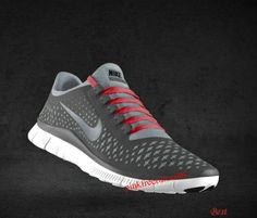 Cheapest Mens Nike Free 3.0 V4 Anthracite Reflect Silver Wolf Grey Sport Red Lace Shoes