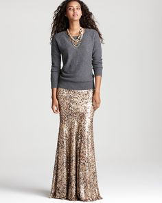 | sequin skirt, grey sweater, statement necklace