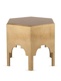 Moorish Side Table by SHINE by S.H.O on Gilt Home  Gold leaf lacquer side table  Measures 22 inches in width by 20½ inches in heigh