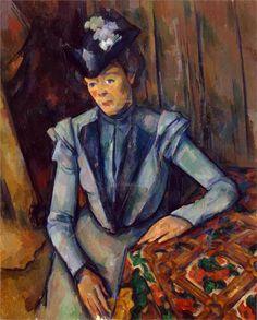 Woman in Blue. Madame Cezanne Artist: Paul Cezanne Completion Date: c.1902 Style: Post-Impressionism Period: Final period Genre: portrait Technique: oil Material: canvas Dimensions: 88 x 72 cm Gallery: Hermitage, St. Petersburg, Russia
