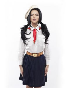 INNA wears a Romanian school uniform during the Communist regime Japanese Uniform, Romanian Girls, Photo Today, Europe Fashion, School Uniform Girls, Traditional Outfits, Sexy Dresses, Fashion Looks, Street Style