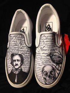 Hand drawn Edgar Allen Poe shoes by AlzadoCompany on Etsy https://www.etsy.com/listing/218745252/hand-drawn-edgar-allen-poe-shoes