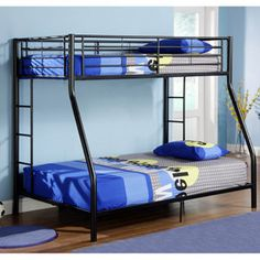 This beautiful sunset black steel double bunk bed makes a great accessory to your childs room. With its steel bedside guardrails you wont worry about your child falling from the top. With its space-saving design this bed fits easily in any room Double Bunk Beds, Full Bunk Beds, Kids Bunk Beds, Full Bed, Bunk Beds With Storage, Metal Bunk Beds, Bed Storage, Bunk Bed Designs, Black Bedding