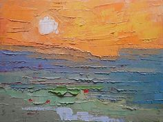 """Expressionist Abstract Seascape, Palette Knife Painting, 9x12x.75"""" Original Oil, Free Shipping in USA,  """"Burning Sky"""""""